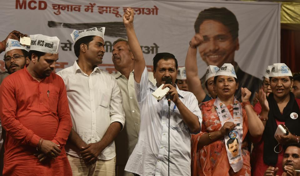 Delhi chief minister Arvind Kejriwal addressed a rally at Burari, his first for the April 23 MCD polls.