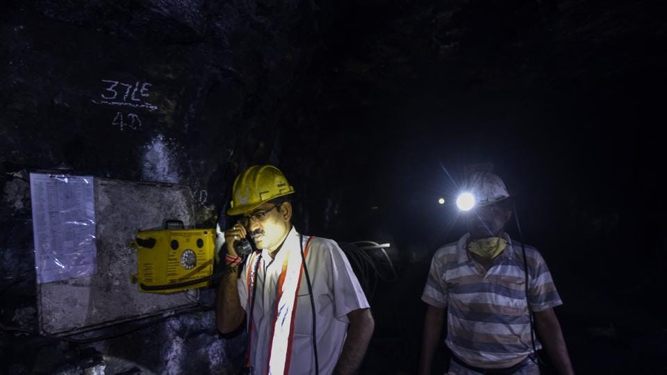Tourists spend about 45 minutes in the mine, before they take the minimalist chair car back up. Miners, however, are down here all day. These sturdy, bright yellow telephones are their only link with the outside world. These are used for routine coordination, and to make SOS calls during emergency situations. (Kunal Patil / HT Photo)