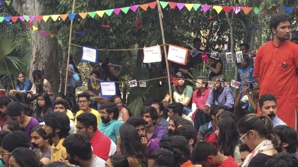 Ramjas students protest against the ban onFriday.