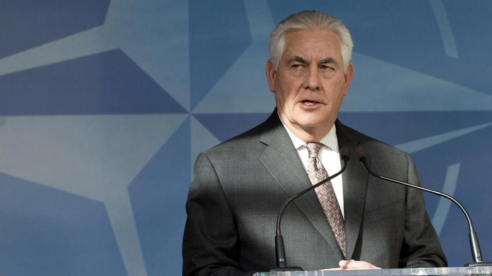 US secretary of state Rex Tillerson addresses the press ahead of a meeting of NATO foreign ministers in Brussels on Friday.