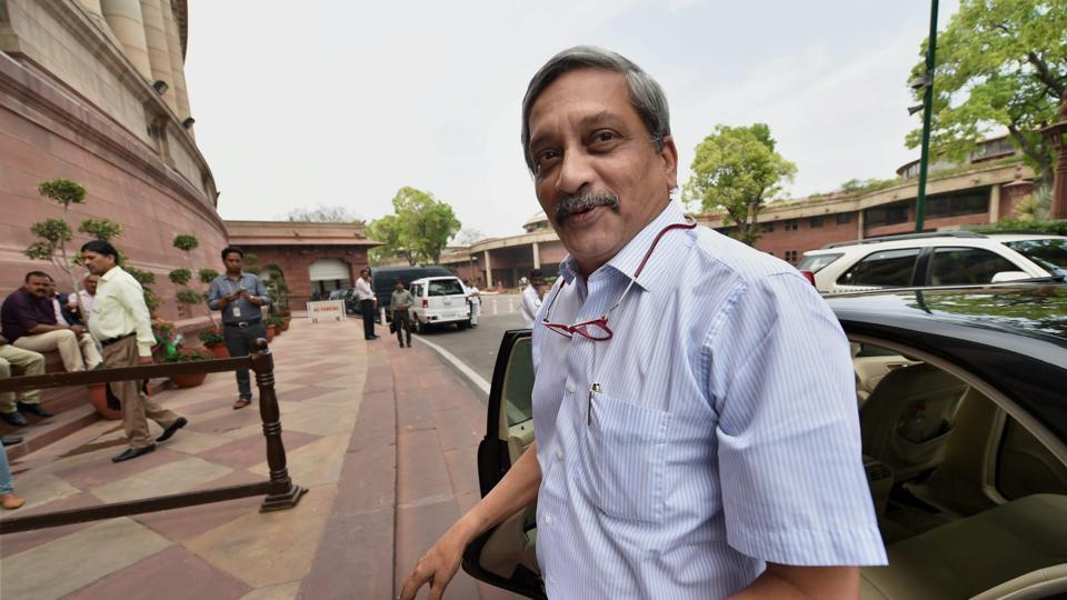 Goa chief minister Manohar Parrikar at Parliament in New Delhi on Friday during the budget session. Parrikar on Friday resigned as a Rajya Sabha member.