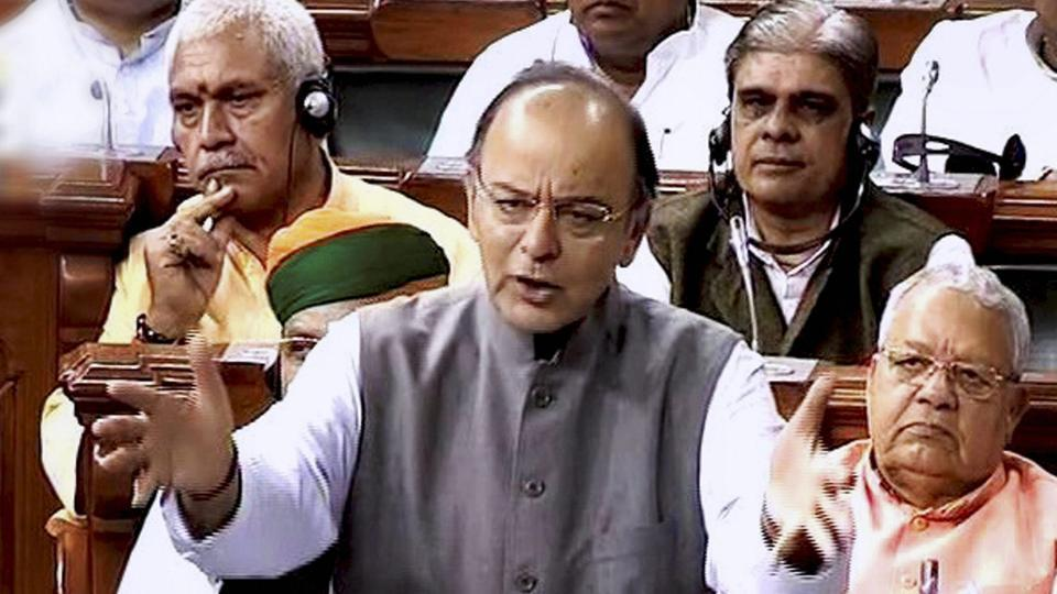 Union finance minister Arun Jaitley speaks in the Lok Sabha in New Delhi on Thursday. The Lok Sabha rejected five amendments moved by the Rajya Sabha to pass the finance bill on Thursday.