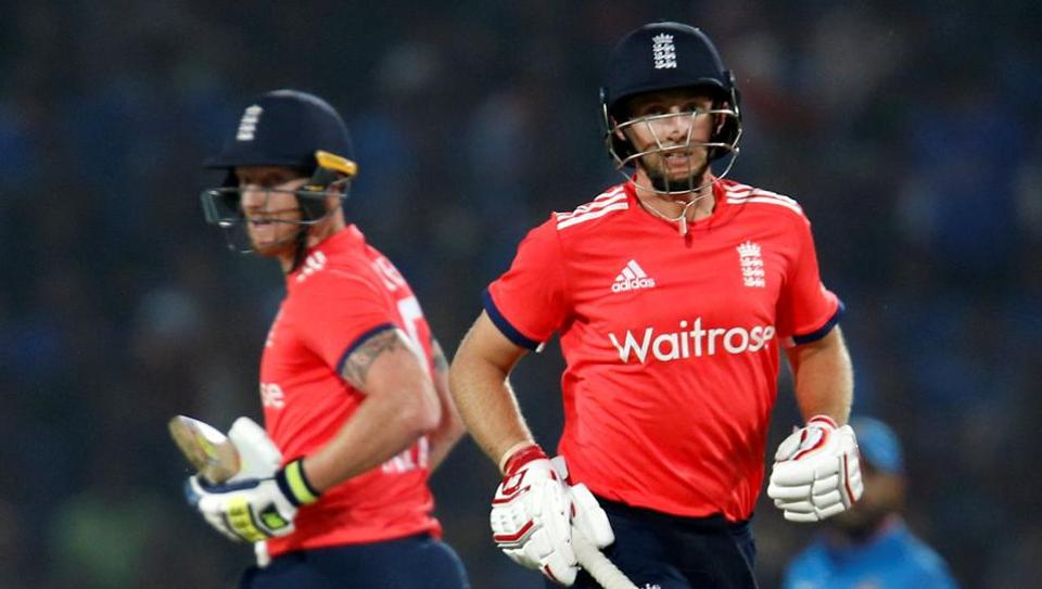 England's Joe Root (R) and Ben Stokes run between the wickets during the second T20 international in Nagpur in January this year. Ben Stokes and Steve Smith will be teammates at IPL team Rising Pune Supergiants