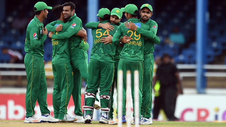Pakistan's cricketers celebrate their victory at the end of the second of four-T20I-match between West Indies and Pakistan at the Queen's Park Oval in Port of Spain, Trinidad. Get cricket score of the West Indies vs Pakistan 2nd T20I from Port of Spain here.