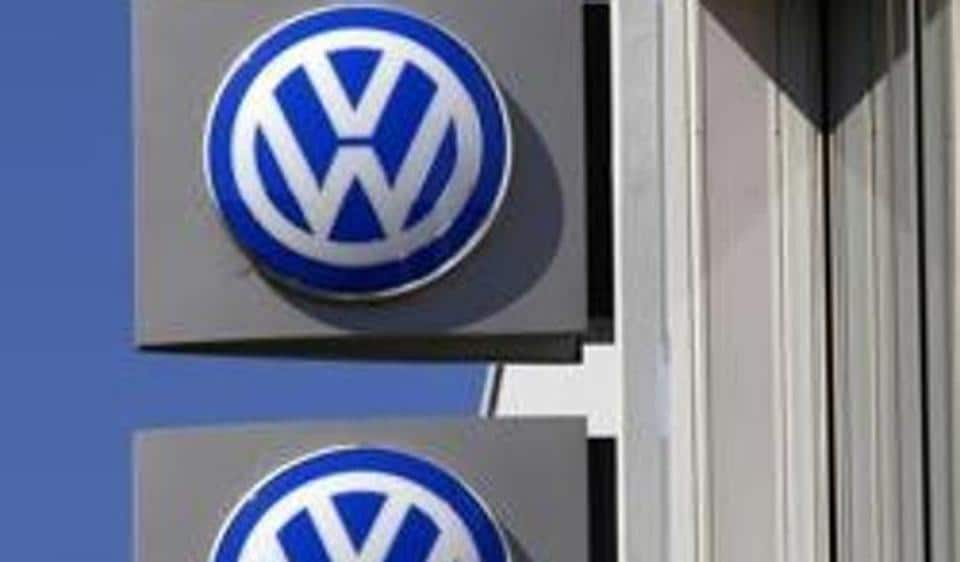 File photo of Volkswagen logos adorning a sign outside a dealership in the Sydney.