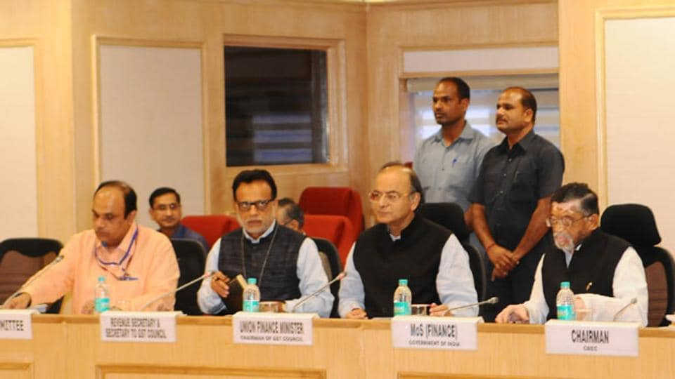 Finance minister Arun Jaitley chairing the 13th Goods and Service Tax Council Meeting in New Delhi .