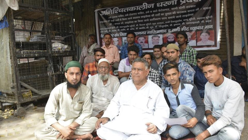Dozens of meat shop owners in Ghaziabad applied for licence after the meeting with CM on Friday.