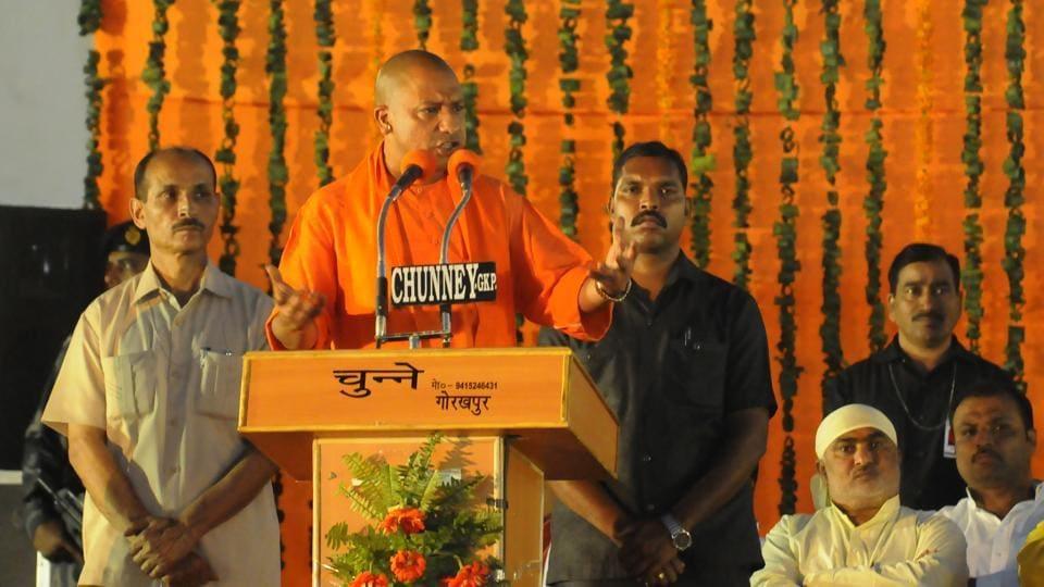 Uttar Pradesh chief minister Yogi Adityanath speaks at an event held at Maharana Pratap Ground in Gorakhpur.