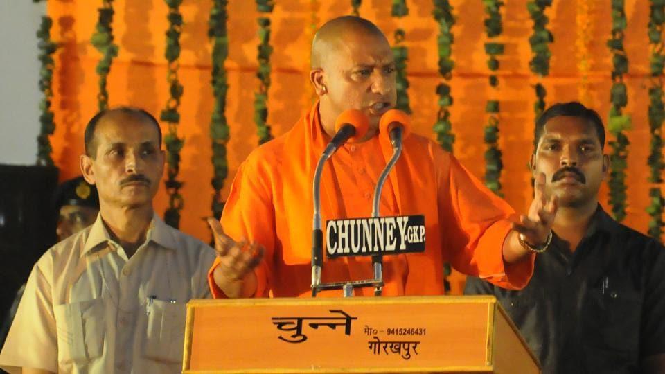Yogi Adityanath addresses a crowd during a felicitation programme at Maharana pratap ground in Gorakhpur.