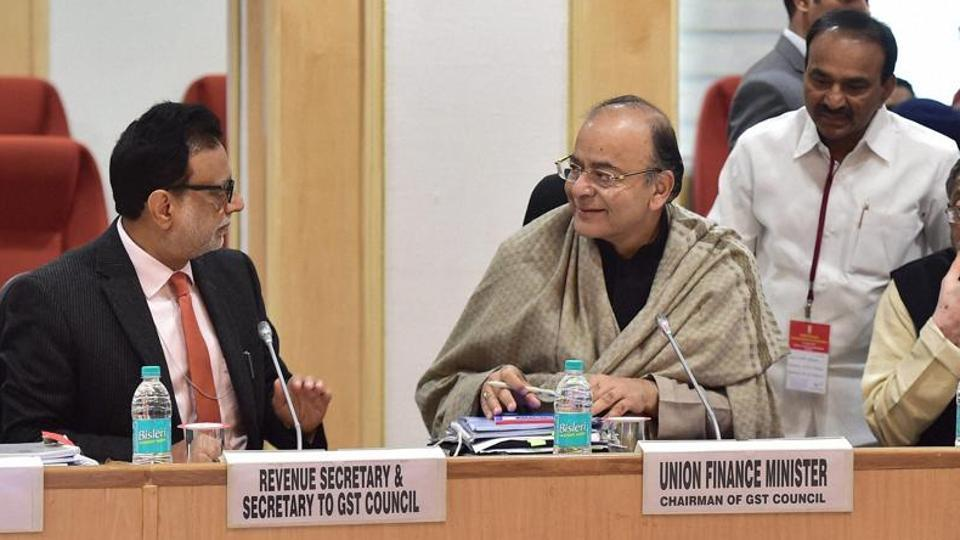 Union minister for finance Arun Jaitley chairing a GST Council Meeting at Vigyan Bhawan in New Delhi  in the presence of MoS for finance Santosh Kumar Gangwar.