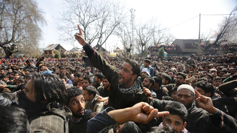 Kashmiris shout freedom slogans during the funeral of a local suspected rebel commander Tauseef Ahmed Wagay at Yaripora, about 60 Kilometres south of Srinagar, Indian controlled Kashmir on March 29.