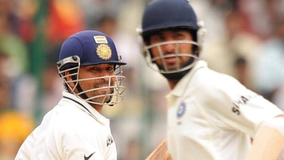 Sachin Tendulkar (L) called Cheteshwar Pujara (R) a silent warrior for the quiet manner in which he goes about his business of grafting long innings.