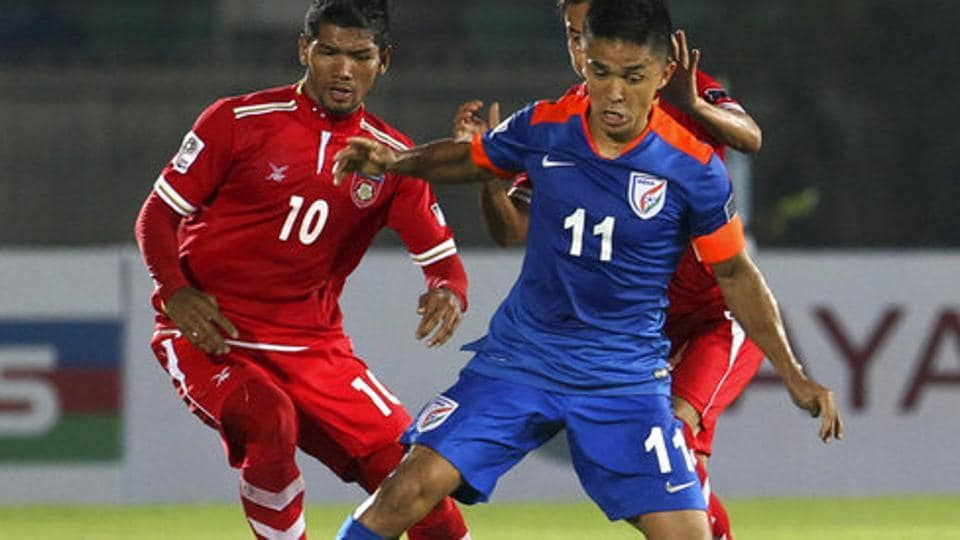 Sunil Chhetri vies for the ball during the India vs Myanmar AFC Asian Cup UAE 2019 soccer match at Thuwunna stadium in Yangon on March 28. India beat Myanmar 1-0.