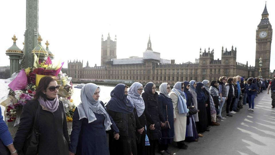 Participants in the Women's March, on Westminster Bridge to remember victims of the March 22 attack, London, Britain
