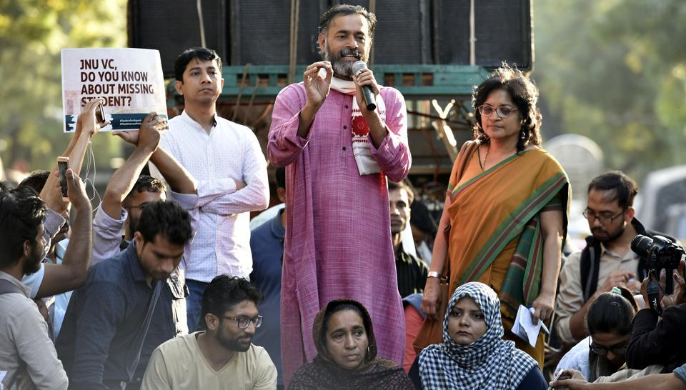 Yogendra Yadav, the founding member of Swaraj India, addressing students and teachers during a protest march. The party is contesting the MCD elections and has not been given a common poll symbol.