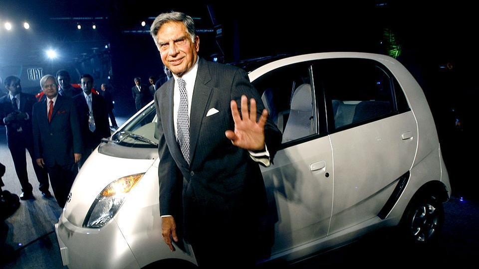 File photo of Ratan Tata posing with the Tata Nano.