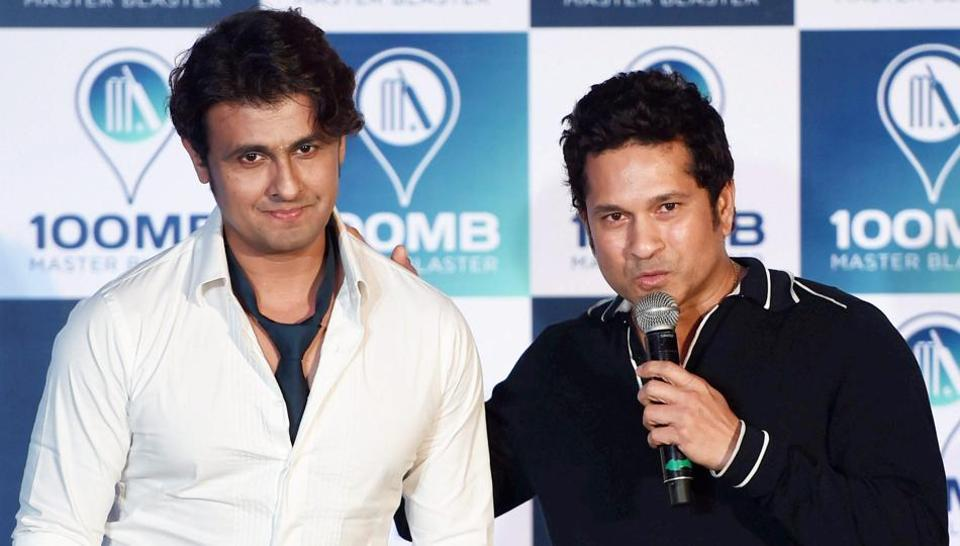 Sachin Tendulkar with singer Sonu Nigam during the launch of a new digital application '100MB' in Mumbai.