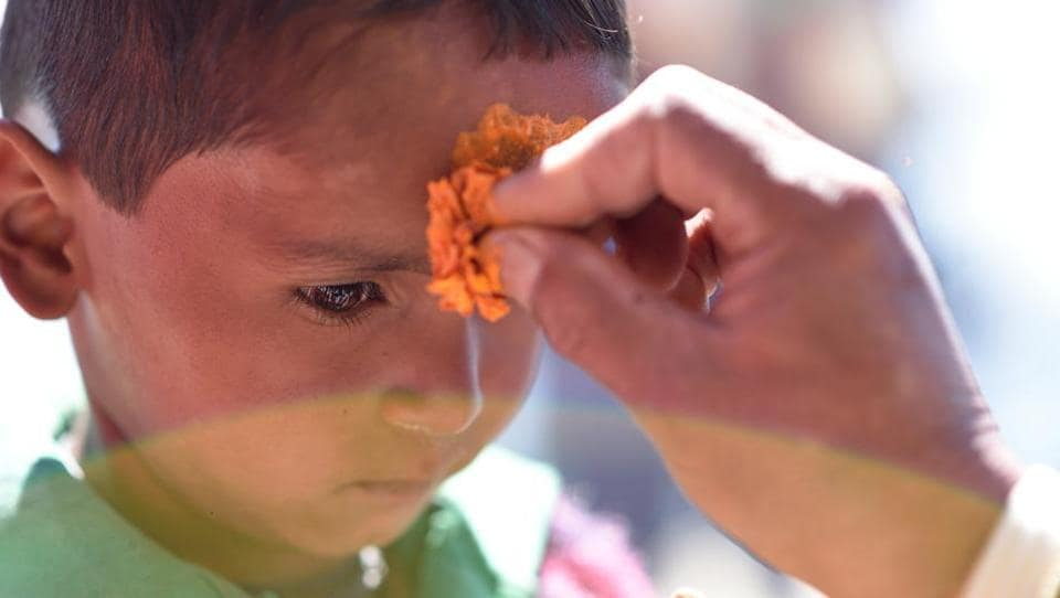 A special 'teeka' or forehead mark, made of turmeric is placed using a marigold flower by the priest at the holy temple. (Gurinder Osan/HT Photo)