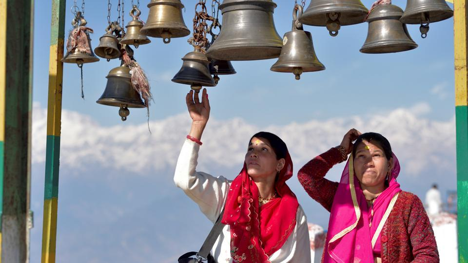 Kanak Chauri village, about thirty kilometres from Rudraprayag is the last road-connected village from where devotees hike about three kilometres to reach the top of the hill where the shrine resides. (Gurinder Osan/HT Photo)