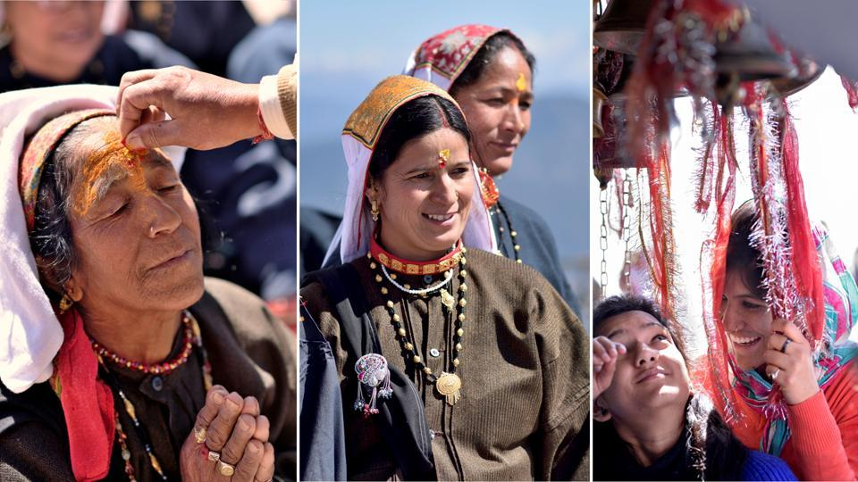 Close-ups of devotees in different moods after receiving blessings and offering prayers at the temple. (Gurinder Osan/HT Photo)