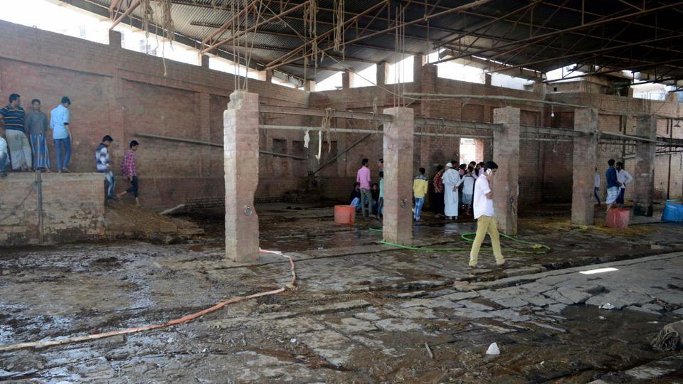 An illegal slaughterhouse in Choka Ghat area of Varanasi which was sealed by the authorities on Tuesday.