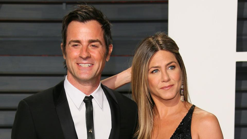 Justin Theroux and Jennifer Aniston arrive to the Vanity Fair Party following the 88th Academy Awards at The Wallis Annenberg Center for the Performing Arts in Beverly Hills, California.