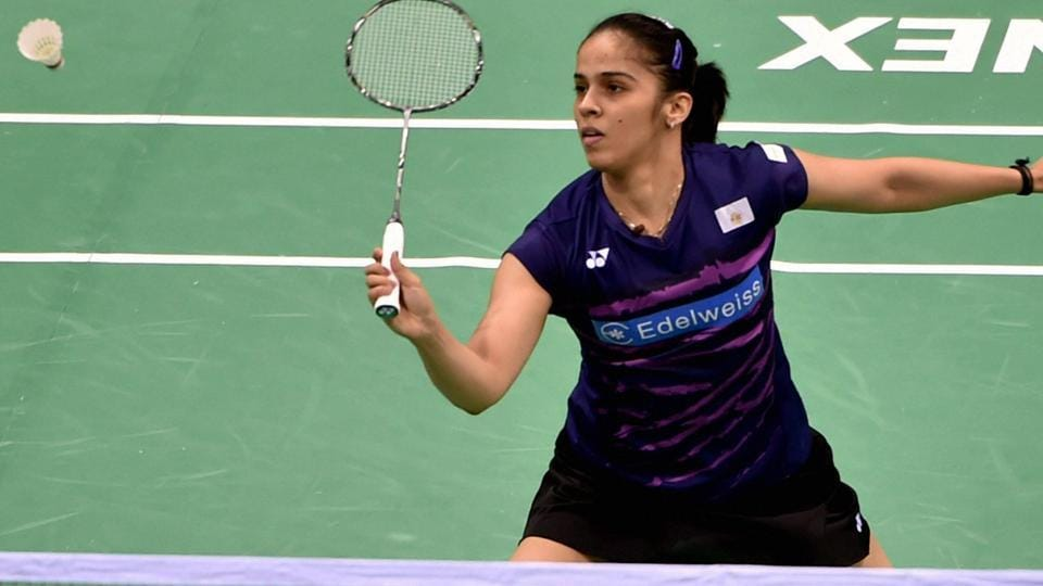 Saina Nehwal in action against Pornpawee Chochuwong (THA) during their singles match at the India Open 2017 in New Delhi on Thursday.