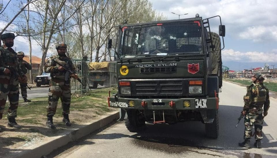 Militants attacked an army convoy in Srinagar, Jammu and Kashmir, on April 1,2017.