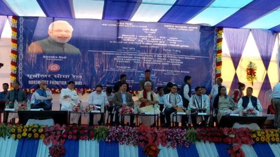 Minister of state for railways Manoj Sinha, minister of state for home affairs Kiren Rijiju, Arunachal Pradesh chief minister Pema Khandu and other dignitaries during the event at Naharlagun railway station on Saturday.