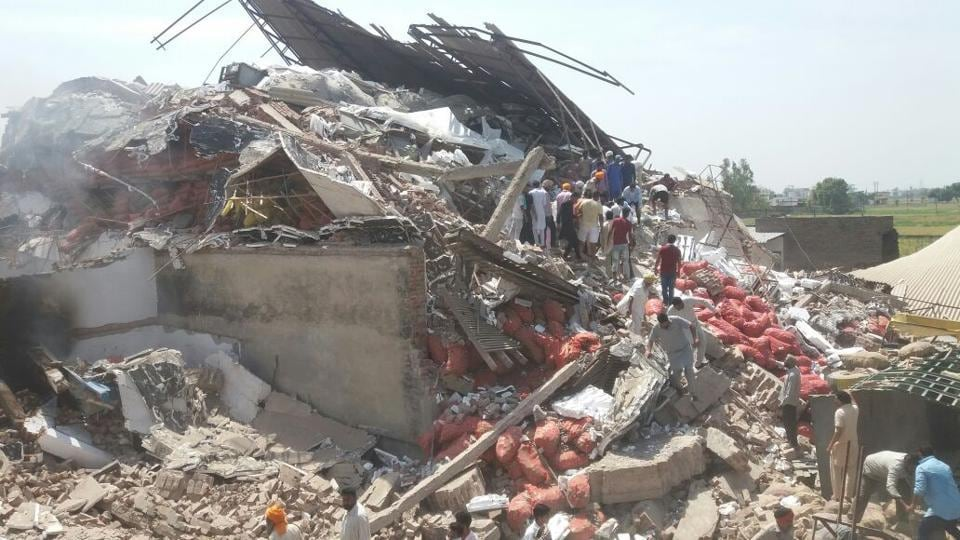 The cold storage building that collapsed after the blast in Sangrur on Friday.