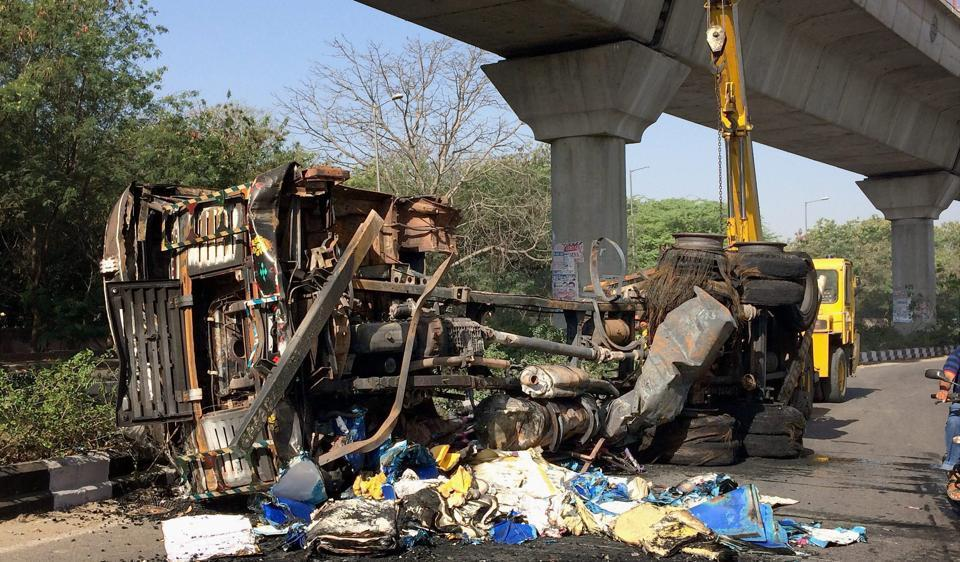 The burnt truck  at Brar Square near Delhi Cantt in New Delhi on Saturday.