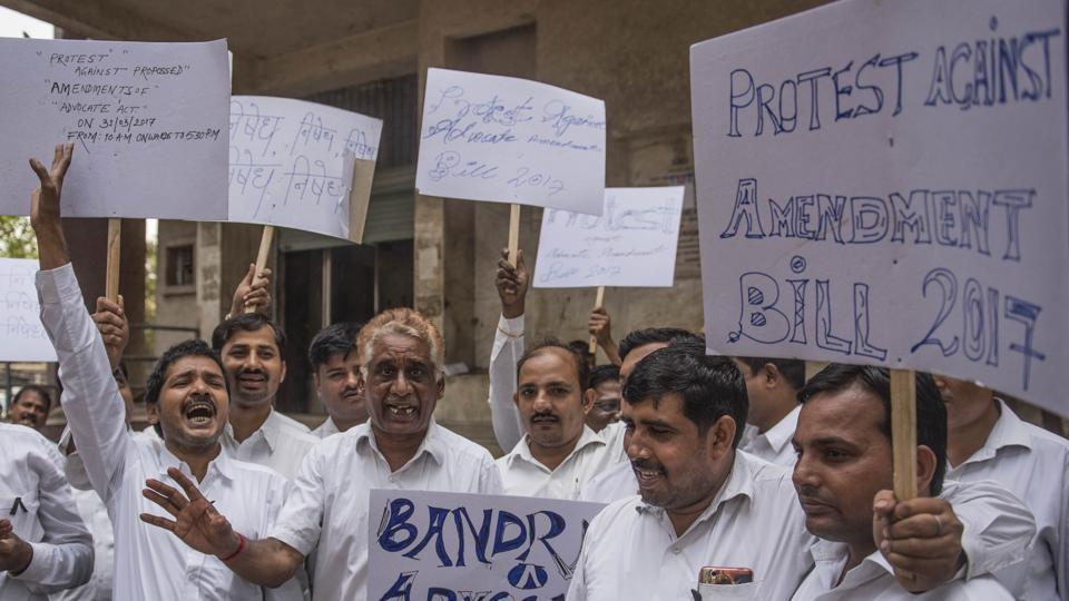 Lawyers protest at Bandra court in Mumbai on Friday.