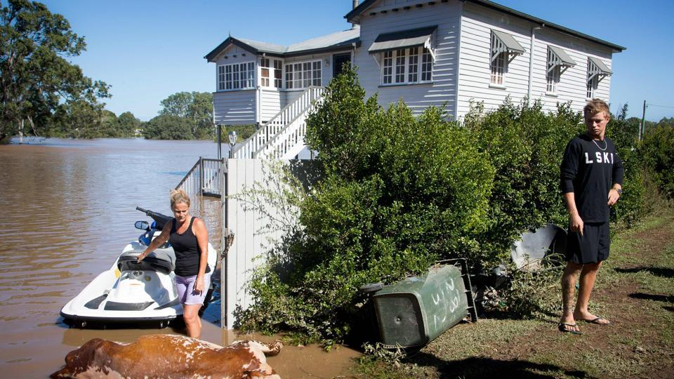 Residents look at a cow, which drowned in floodwaters caused by Cyclone Debbie, that they recovered on their property in North MacLean, Brisbane, on April 1.