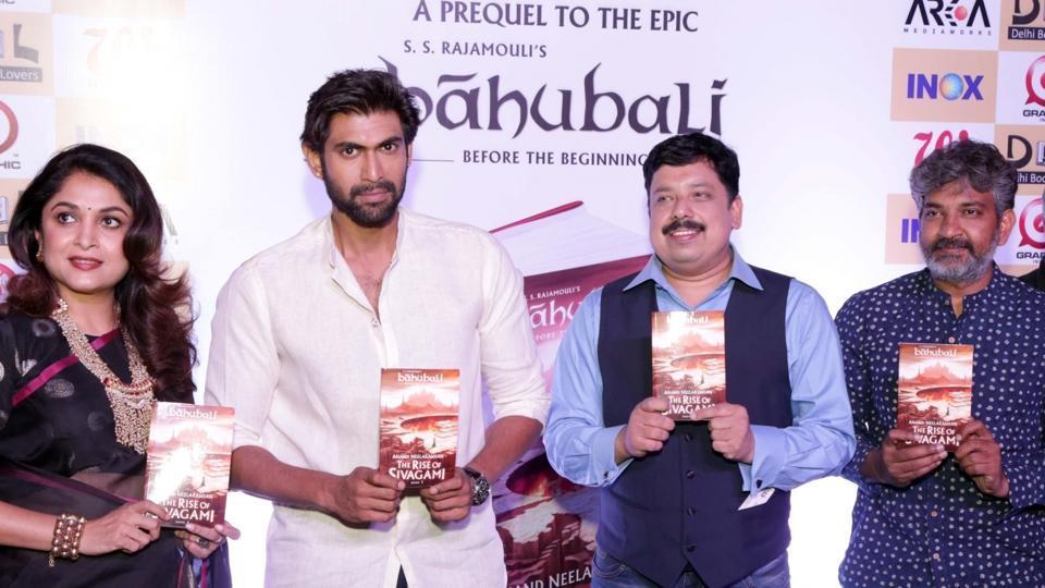 Actors Ramya Krishnan, Rana Dagubatti and author Anand Neelkantan at the launch of The Rise of Sivagami in New Delhi.