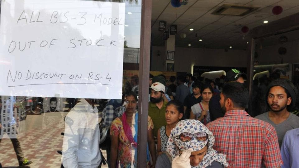 A showroom with 'out-of-stock' notice in Chandigarh on Friday.