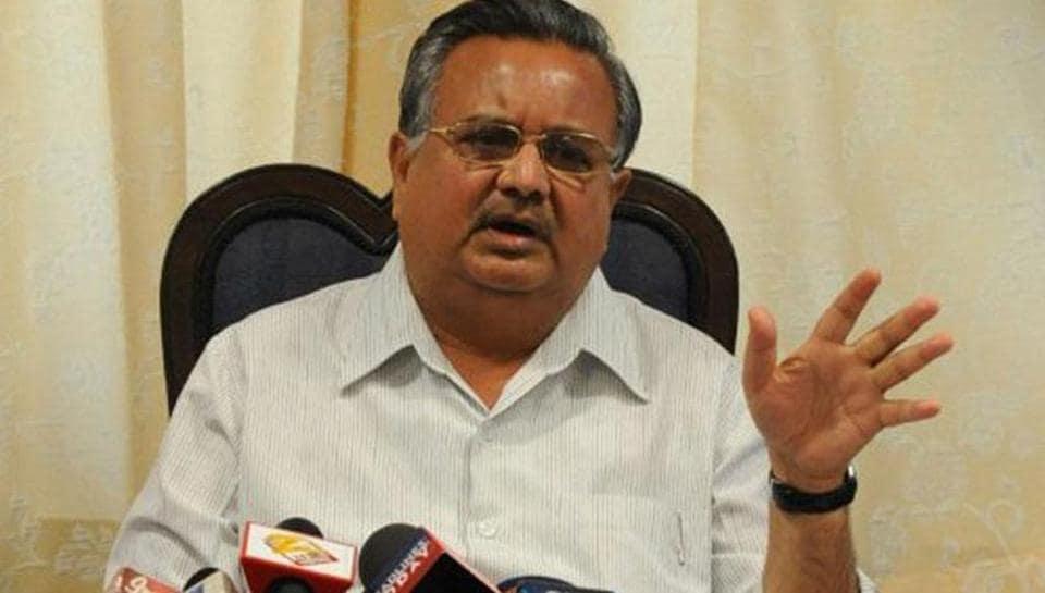 Chhattisgarh chief minister Raman Singh talks to the media.