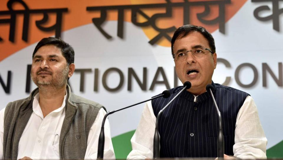 Congress spokesperson Randeep Singh Surjewala (right) said several anti-people steps taken by the BJP government have caused insurmountable pain and agony to ordinary hardworking citizens.
