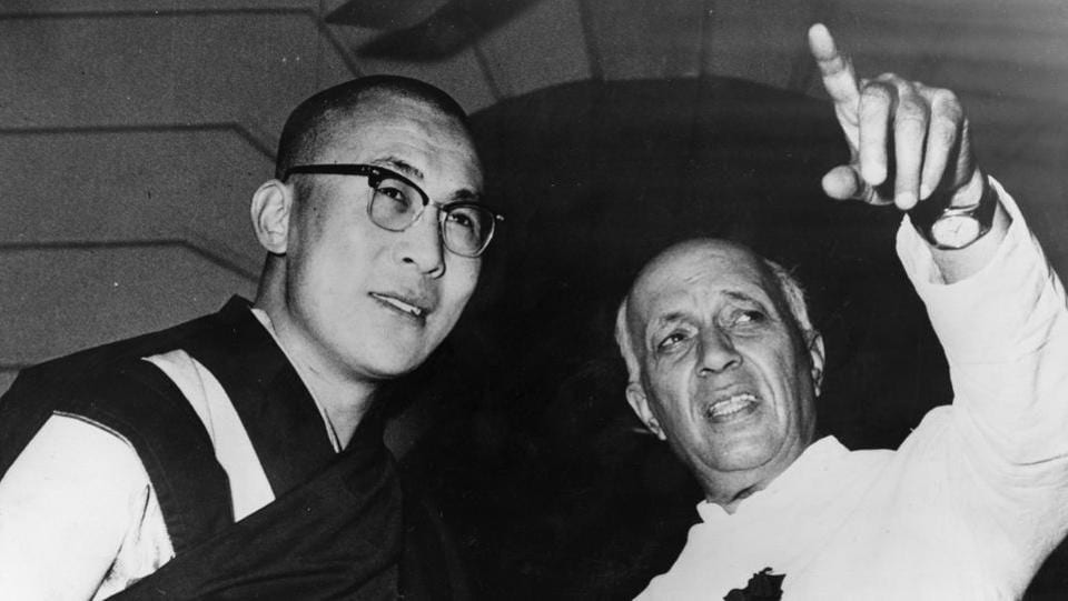 Tibetan spiritual leader the Dalai Lama and Indian Prime Minister Jawaharlal Nehru in New Delhi where they met to discuss the rehabilitation of Tibetans who crossed the border to India during the Chinese/Tibetan crisis. (Getty Images)