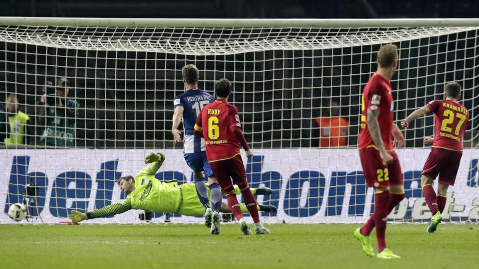 Hoffenheim's Andrej Kramaric (right)scores his side's first goal from a penalty during the Bundesliga match against Hertha BSC in Berlin on Friday.