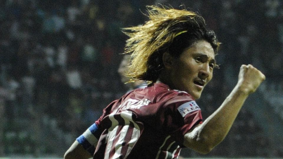 Katsumi Yusa of Mohun Bagan scores against Bengaluru FCduring their I-League match at Rabindra Sarovar Stadium in Kolkata on Saturday.