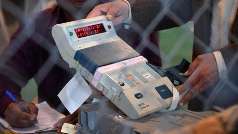 An open Electronic Voting Machine (EVM) at a counting centre in Ghaziabad.
