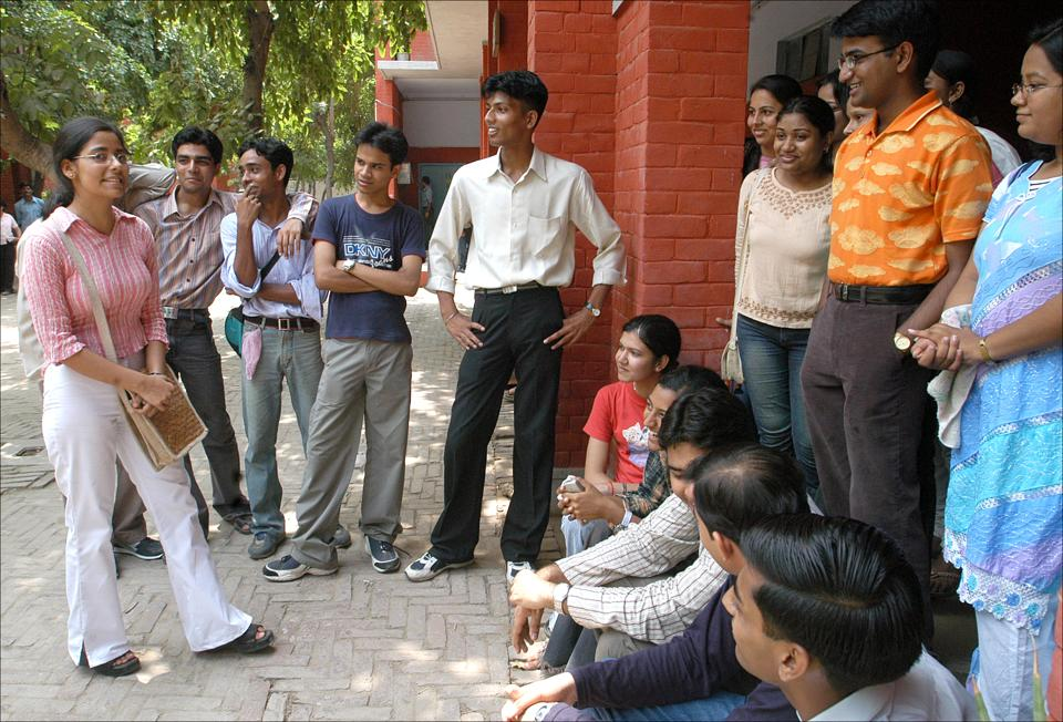 Delhi university will set up two control rooms in north and South campus from July 20 to August 2 for easing the induction process of the freshers. Seen here, students last year introducing themselves to seniors.