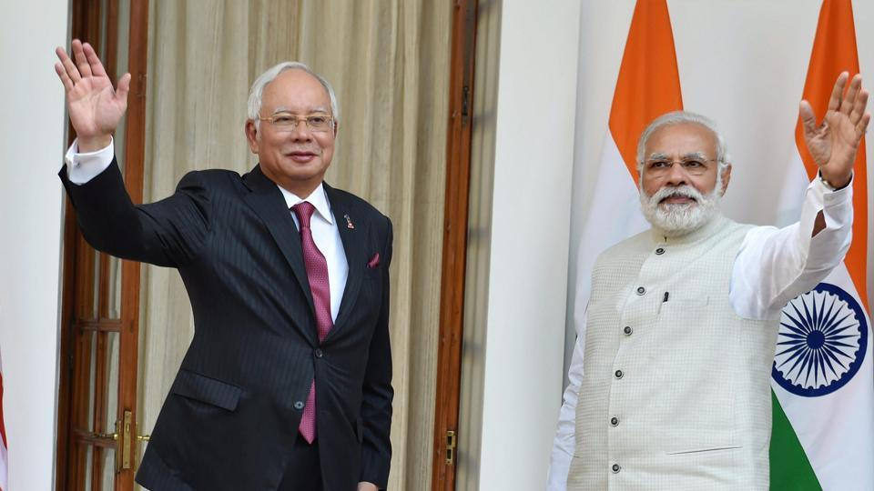 Prime Minister Narendra Modi with his Malaysian counterpart Najib Razak before their meeting at Hyderabad House in New Delhi on Saturday.