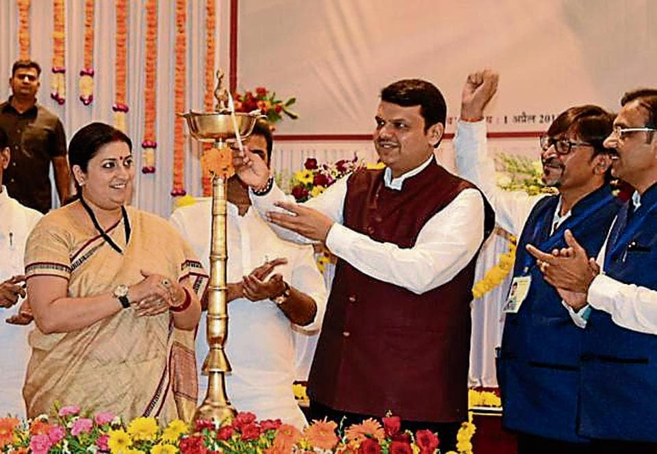 Chief minister Devendra Fadnavis and textiles minister Smriti Irani visited Bhiwandi to inaugurate a power loom industry on Saturday.