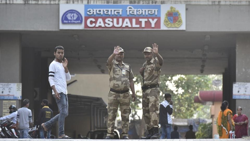 Guards deployed outside BMC's Nair Hospital at Bombay Central on Saturday.