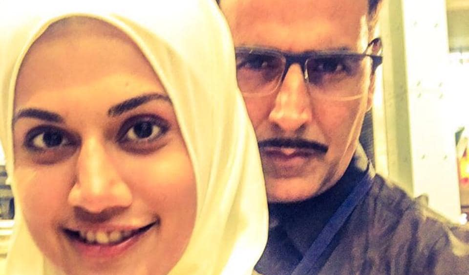 Taapsee Pannu and Akshay Kumar on the sets of Naam Shabana.
