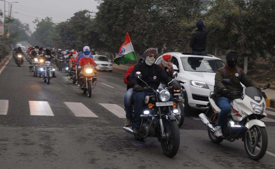 A group of Royal Enfield youth sikh has been organising Nation salute ride from New Delhi to Damdama lake on Republic Day, in Gurgaon, India, on Thursday, January 26, 2017.