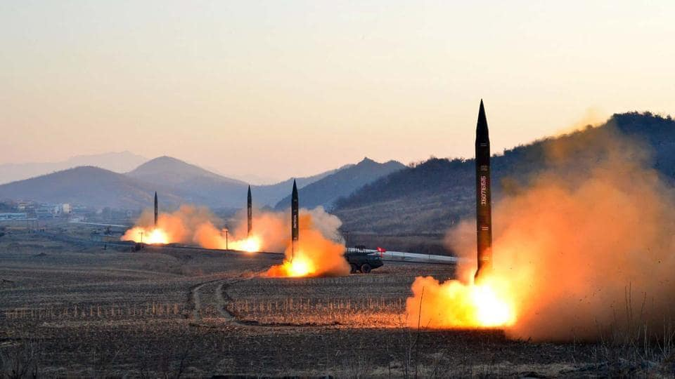 This undated picture released by North Korea's KCNA in March 2017 shows the launch of four ballistic missiles by the Korean People's Army during a military drill at an undisclosed location.
