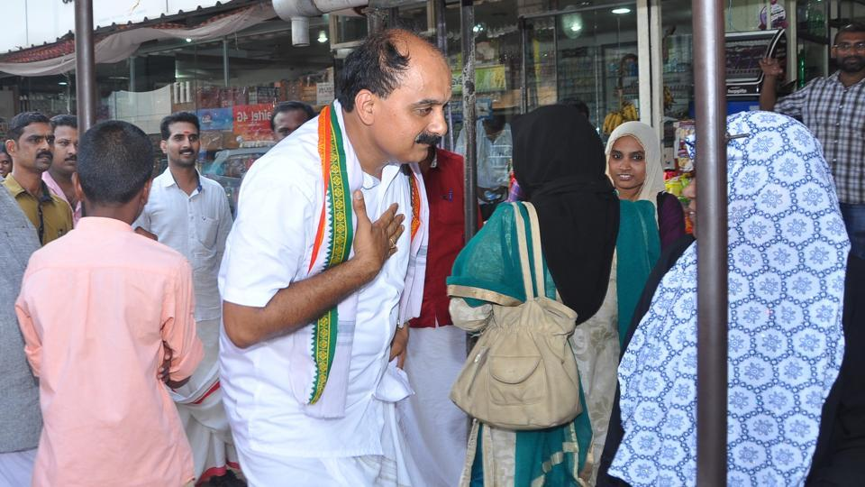 Sreeprakash, the BJP candidate for the parliamentary by-election in Malappuram, campaigns in his constituency.