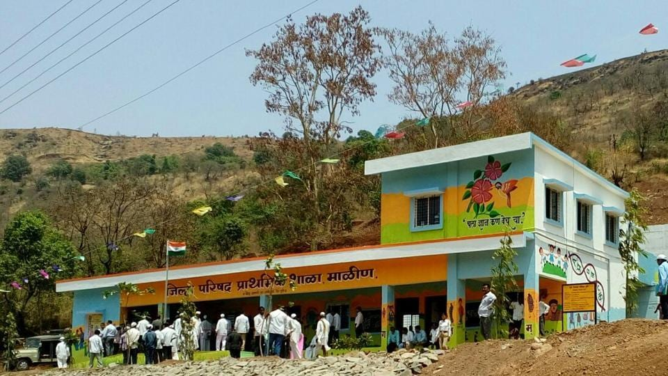 The school that survived the Malin landslide was renovated by the Maharashtra government.